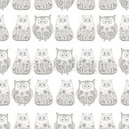 Doodle Cats and Owls Seamless Vector Pattern Design