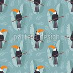 Papagaios Tucanos Bonitos Design de padrão vetorial sem costura