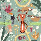 Leben Der Dschungel-Tiere Nahtloses Vektormuster