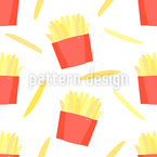 French Fries Seamless Vector Pattern Design
