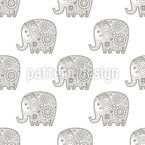 Doodle Elephants Seamless Vector Pattern