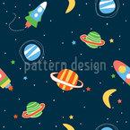 Doodle Weltraum Nahtloses Vektor Muster