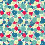 Flache Blüten Nahtloses Vektormuster