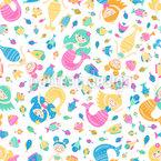 Flat Mermaid Pattern Design