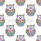 Flower-Owls Seamless Pattern