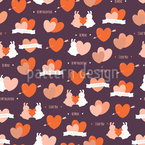 Cute Rabbits In Love Seamless Vector Pattern