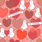 Rabbits In Love Vector Pattern