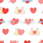 Bunnies In Love Repeating Pattern