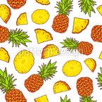 Sunny Pineapple Seamless Vector Pattern Design