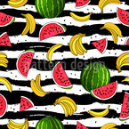 Banana And Waterlemon Seamless Vector Pattern Design