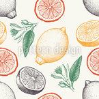Die Schöne Und Die Frucht Nahtloses Vektormuster