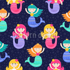 Mermaids under the starry sky Vector Ornament