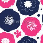 Gemalte Retro Blumen Nahtloses Vektormuster