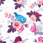 Wild Roses And Cute Birds Seamless Vector Pattern Design