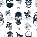 Woodcut Skulls Repeating Pattern