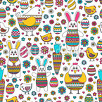 Easter Bunny And Friends Seamless Vector Pattern Design