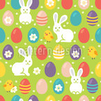 Easter Rabbits and Chicken Seamless Vector Pattern Design