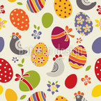 Easter Eggs and Chicken Seamless Vector Pattern