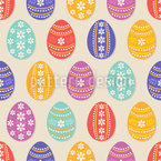Floral Easter Eggs Seamless Vector Pattern Design