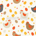 Chicken Farm Seamless Vector Pattern Design