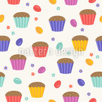 Tasty Cupcakes Meet Easter Eggs Seamless Vector Pattern Design