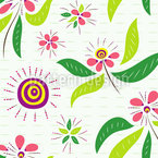 Asian Flowers Seamless Vector Pattern Design
