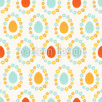 Floral wreath easter eggs Seamless Vector Pattern Design