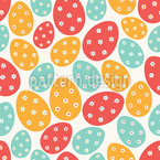 Easter Eggs with Flowers Seamless Vector Pattern Design