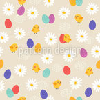 Cute Chicken Seamless Vector Pattern Design