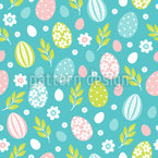 Easter Eggs In Spring Seamless Vector Pattern Design