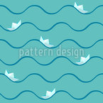 Paper Boat On High Seas Pattern Design