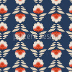 Abstract Retro-Flowers Repeat Pattern