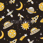 Mysterious Space Seamless Vector Pattern Design