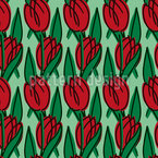 Field Of Tulips Seamless Vector Pattern Design