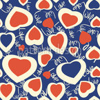 Chaotic Hearts Seamless Vector Pattern Design