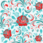 Roses And Leaves Seamless Vector Pattern Design
