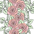 Cute Roses on Branches Seamless Vector Pattern Design