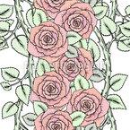 Niedliche Rosen auf Zweigen Nahtloses Vektormuster