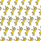 Dancing Bananas Seamless Vector Pattern