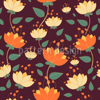 Flowers In The Wind Of Change  Seamless Vector Pattern Design