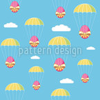 Easter Egg Parachuting Seamless Vector Pattern Design
