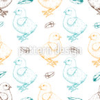 Cute Little Chicks Vector Ornament