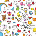 Cute Drawings Seamless Vector Pattern Design