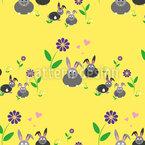 Hasenfamilie auf einer Blumenwiese Nahtloses Vektormuster