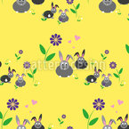 Rabbit Family on a Meadow Flower  Seamless Vector Pattern Design