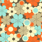 Retro Pop Flowers Seamless Vector Pattern