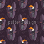 Toucan At Night Seamless Vector Pattern Design