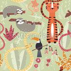 Eine Gruppe Dschungeltiere Rapportiertes Design