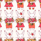 Bunnies with Tulips Repeat Pattern