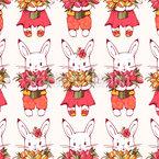 チューリップのウサギ シームレスなベクトルパターン設計